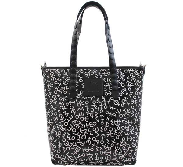 Shopping bag gabs lucrezia test p0073 simboli bianco-nero - dettaglio 1