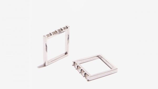 Nalì anello doppio quadrato 16163 argento - dettaglio 1