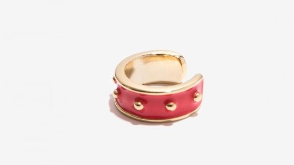 Nalì anello smaltato con borchie 16211 corallo - dettaglio 1