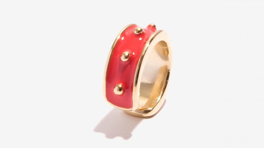 Nalì anello smaltato con borchie 16211 corallo - dettaglio 2