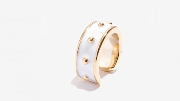 Nalì anello smaltato con borchie 16213 bianco - dettaglio 1