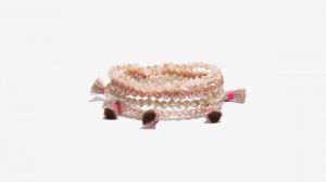 Nalì bracciale in set elastico con tassel e beads 16392 bianco - dettaglio 1