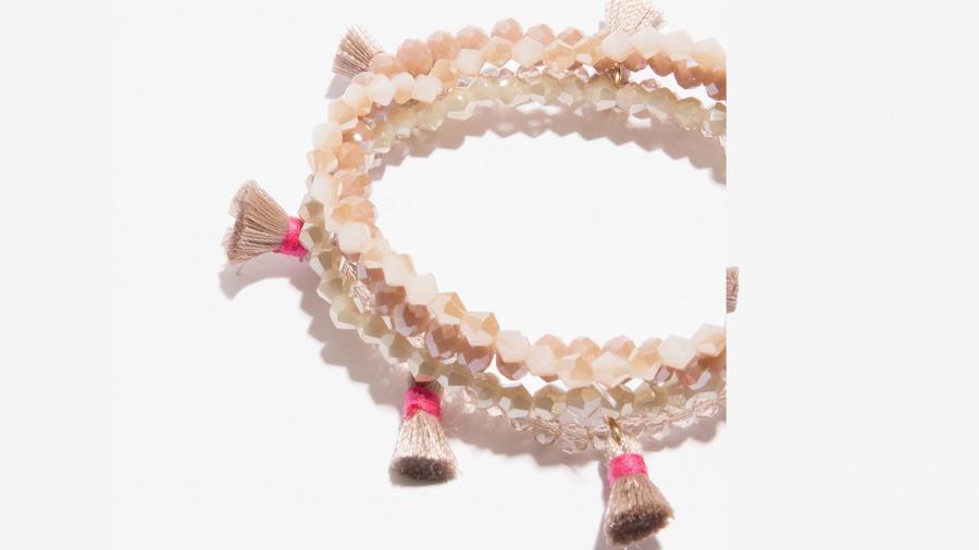 Nalì bracciale in set elastico con tassel e beads 16392 bianco - dettaglio 2
