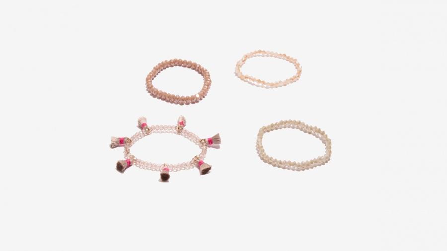 Nalì bracciale in set elastico con tassel e beads 16392 bianco - dettaglio 3