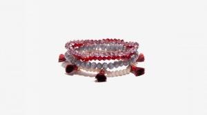 Nalì bracciale in set elastico con tassel e beads 16393 rosso - dettaglio 1