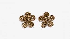 Nalì orecchini a fiore di cristalli 16304 oro - dettaglio 1