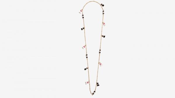 Nalì collana con tassel e beads 16383 bianco/nero - dettaglio 1