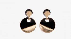 Nalì orecchini con cerchio in resina 16275 oro/nero - dettaglio 1
