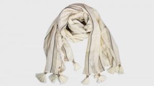 Twinset sciarpa os8t3n stampa righe dune chiaro e oro cotone - dettaglio 1