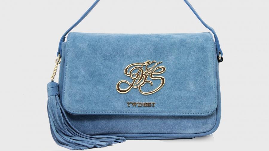 Twinset borsa a tracolla con patta os8tea blue stone pelle - dettaglio 1