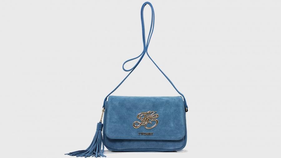 Twinset borsa a tracolla con patta os8tea blue stone pelle - dettaglio 2