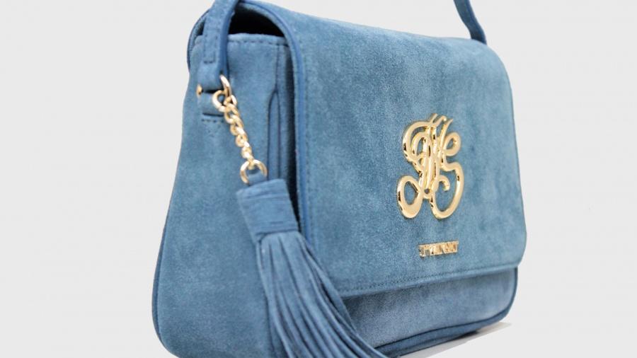 Twinset borsa a tracolla con patta os8tea blue stone pelle - dettaglio 5