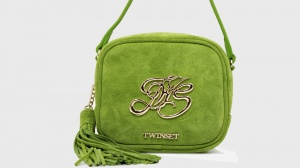 Twinset borsa a tracolla mini con logo os8teb kiwi pelle - dettaglio 1