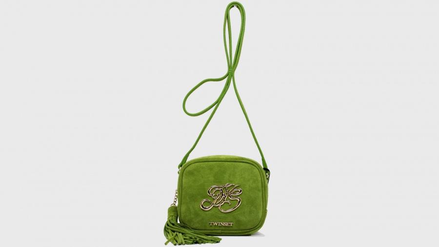 Twinset borsa a tracolla mini con logo os8teb kiwi pelle - dettaglio 2