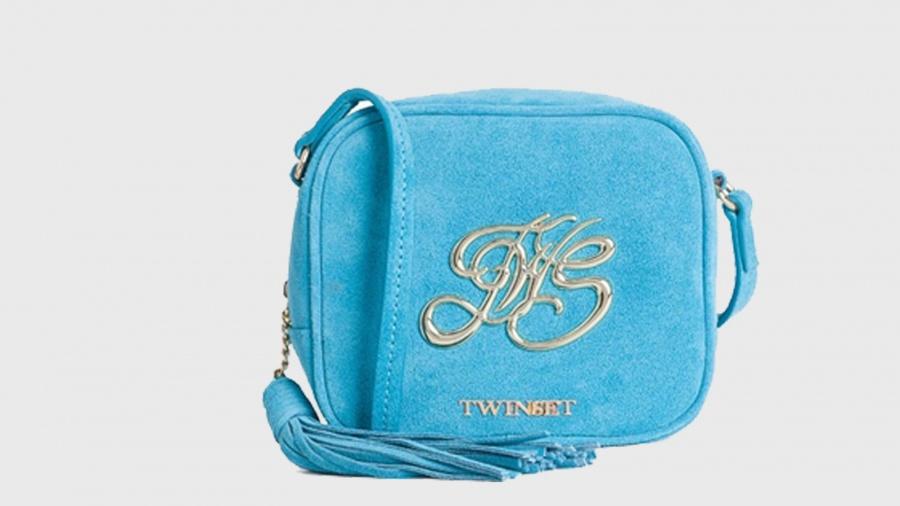 Twinset borsa a tracolla mini con logo os8teb blue stone pelle - dettaglio 1
