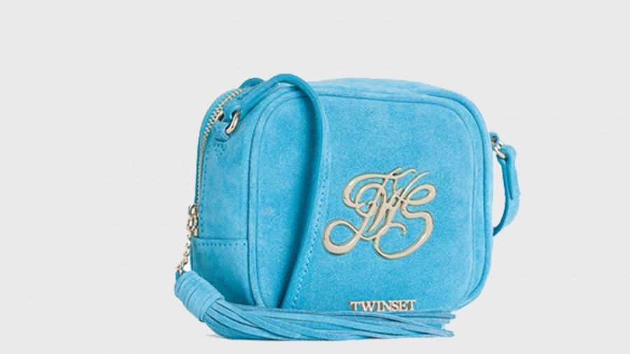 Twinset borsa a tracolla mini con logo os8teb blue stone pelle - dettaglio 13