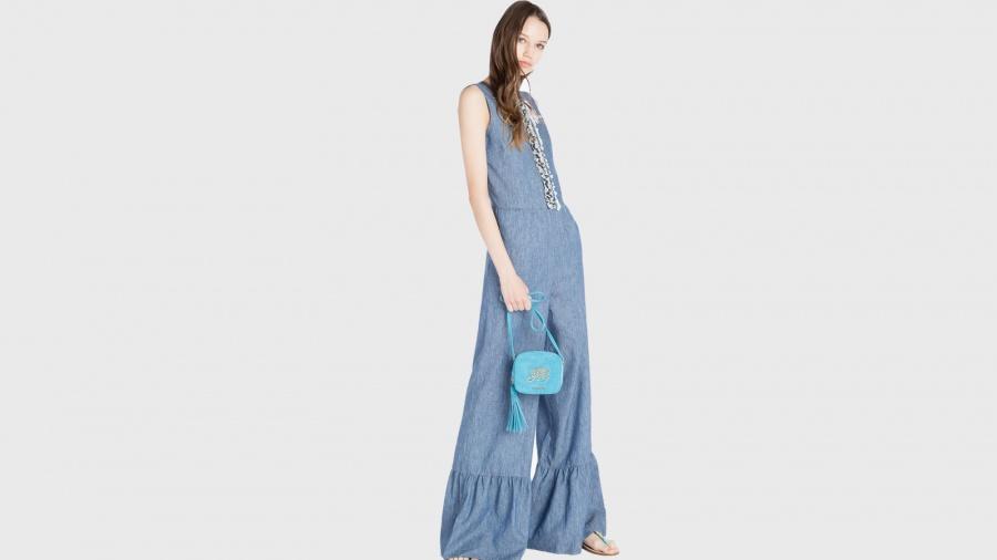 Twinset borsa a tracolla mini con logo os8teb blue stone pelle - dettaglio 5