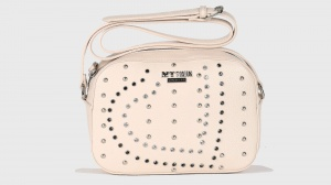 My twin borsa a tracolla borchie a ricamo cuore rs8tfr panna - dettaglio 1