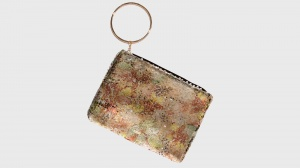 Pochette con anello in metallo nalì 16545 rosa fantasia - dettaglio 1