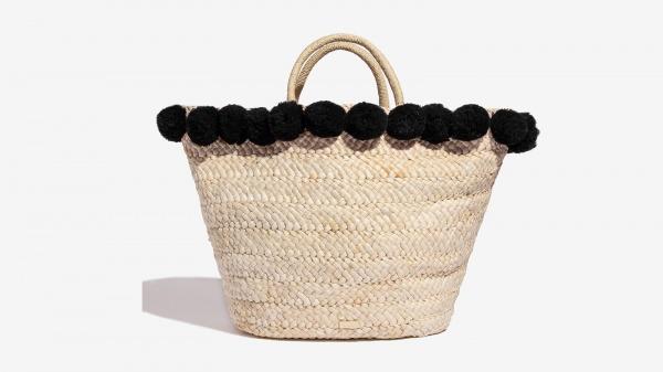 Nalì cesta in paglia con pon pon 16611 nero - dettaglio 1