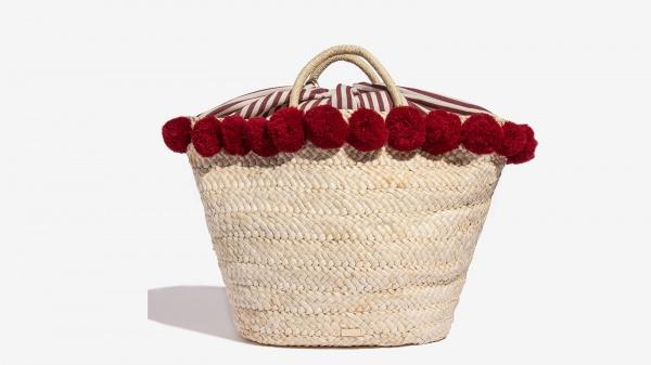 Nalì cesta in paglia con pon pon 16612 burgundy - dettaglio 1