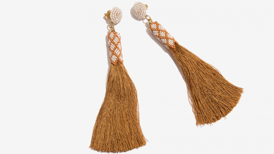 Nalì orecchini tassel con corallini 16711 oro - dettaglio 2