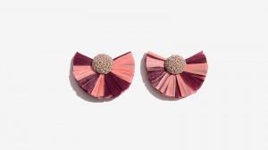 Nalì orecchini ventaglio rafia 16685 rosa - dettaglio 1