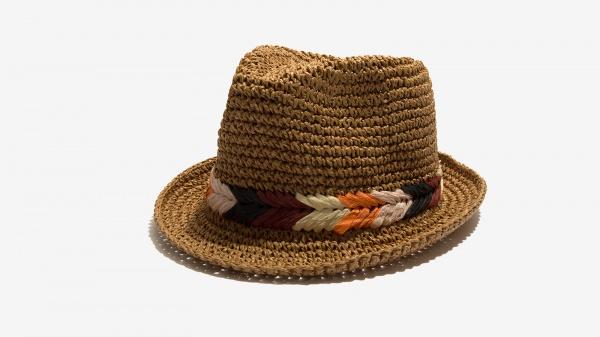 Nalì cappello paglia ricamo multicolore 16557 tabacco - dettaglio 1