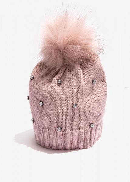 Nalì cappello con cristalli e ponpon mkca0049 rosa - dettaglio 1