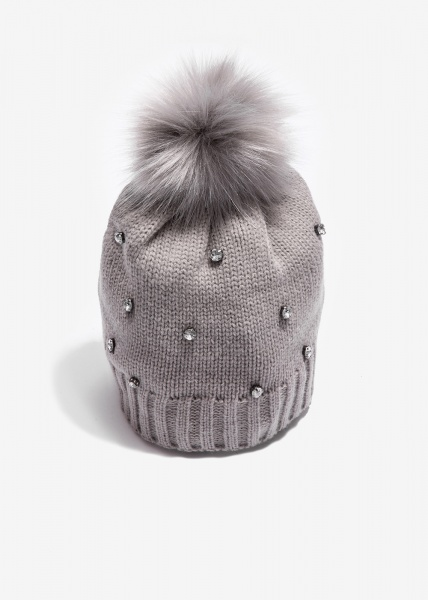 Nalì cappello con cristalli e ponpon mkca0050 grigio - dettaglio 1