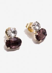 Nalì orecchini a lobo con pietre emor0226 viola - dettaglio 1