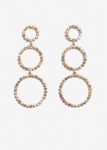 Nalì orecchini a cerchi con cristalli emor0287 taupe - dettaglio 1