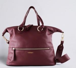 TwinSet Shopping bag con anelli in Pelle Bordeaux - dettaglio 1