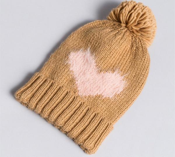 Twinset cuffia in maglia con cuore aa8p5b bicolor light pink e camel acrilico - dettaglio 1