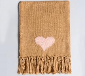 Twinset sciarpa in maglia con cuore aa8p5a bicolor light pink e camel acrilico - dettaglio 1
