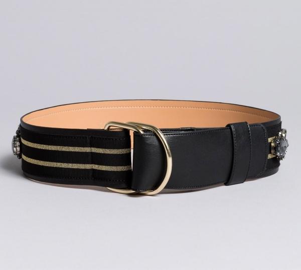 Twinset cintura in pelle con ricamo aa8p4b bicolor nero e oro ecopelle - dettaglio 1