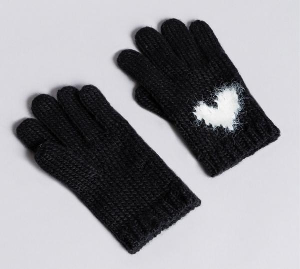 """Twinset guanti in maglia con cuore aa8p5c bicolor bianco """"neve"""" e nero acrilico - dettaglio 1"""