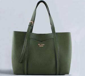 My Twin Shopping bag in Similpelle e Pochette Stampata Bicolor Verde e Rose Rosa VA8PGN - dettaglio 1