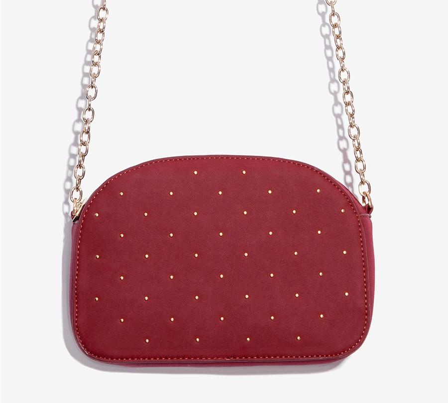 Nalì borsa a tracolla con microborchie libs0084 burgundy - dettaglio