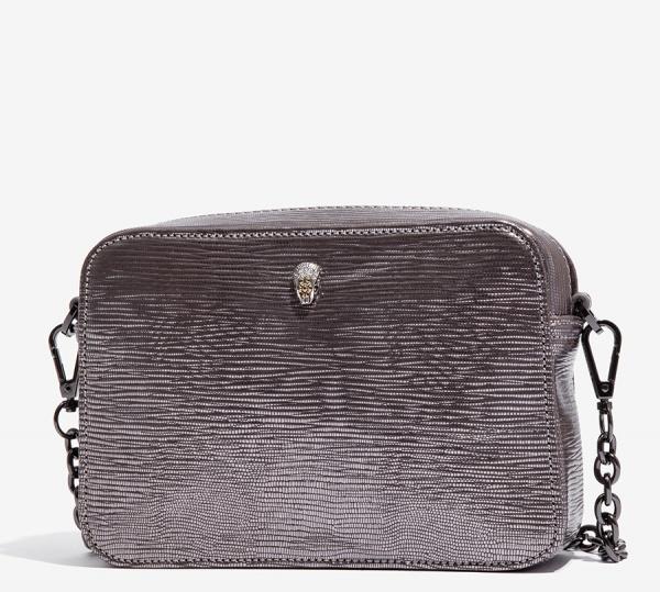 Nalì borsa a tracolla box metallic con serpente ribs0166 silver - dettaglio 2