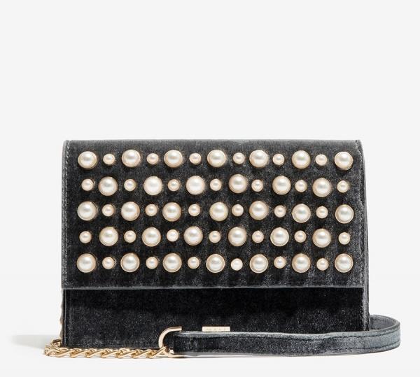 Nalì borsa a tracolla in velluto con perle libs0103 grigio - dettaglio 1