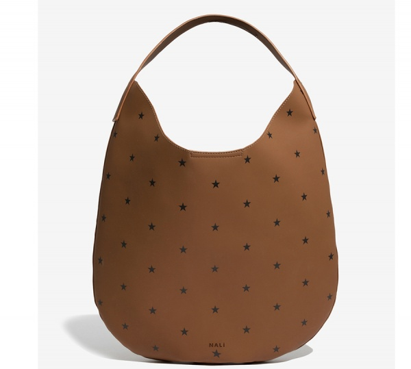 Nalì borsa a spalla a sacca con stampa stelle yibs0321 cuoio - dettaglio 1