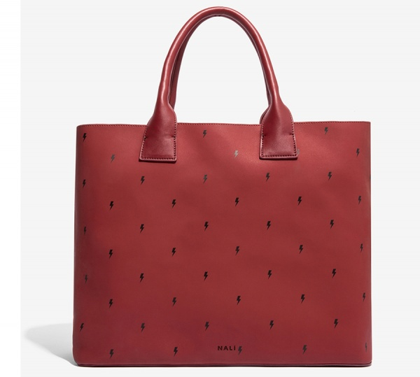 Nalì shopping bag con stampa fulmine yibs0317 burgundy - dettaglio 1