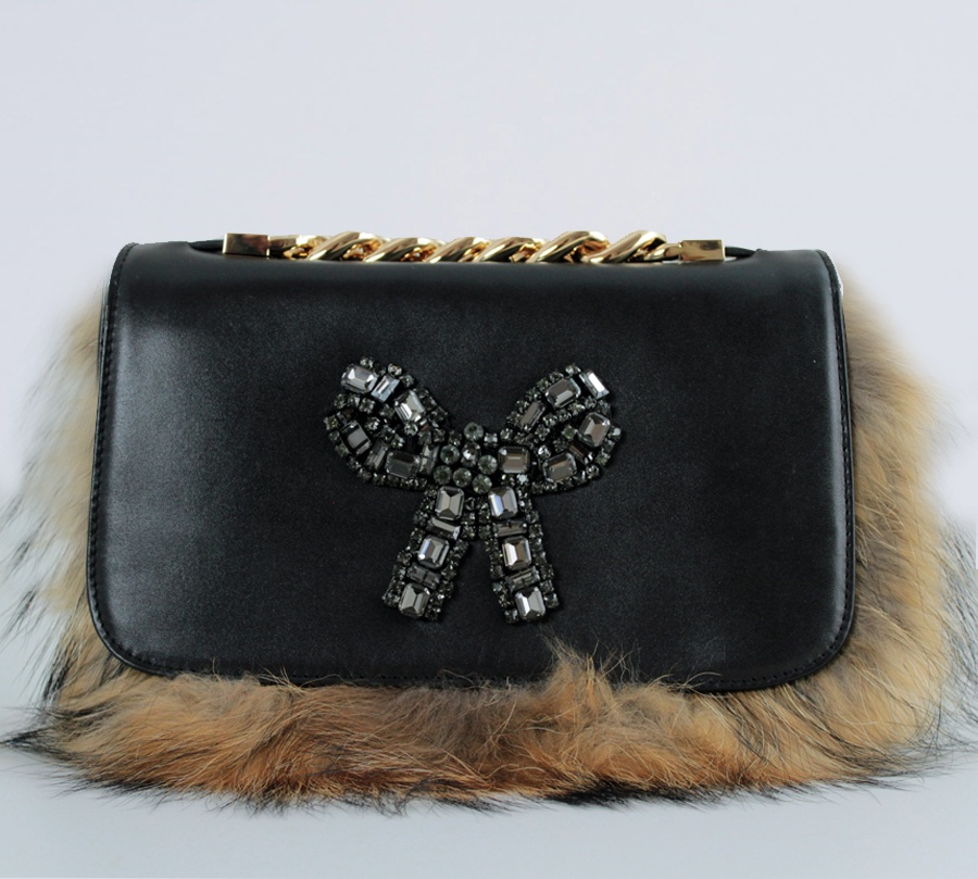Twinset borsa a tracolla con strass e lapin aa8pc2 nero e camel pelle - dettaglio 1