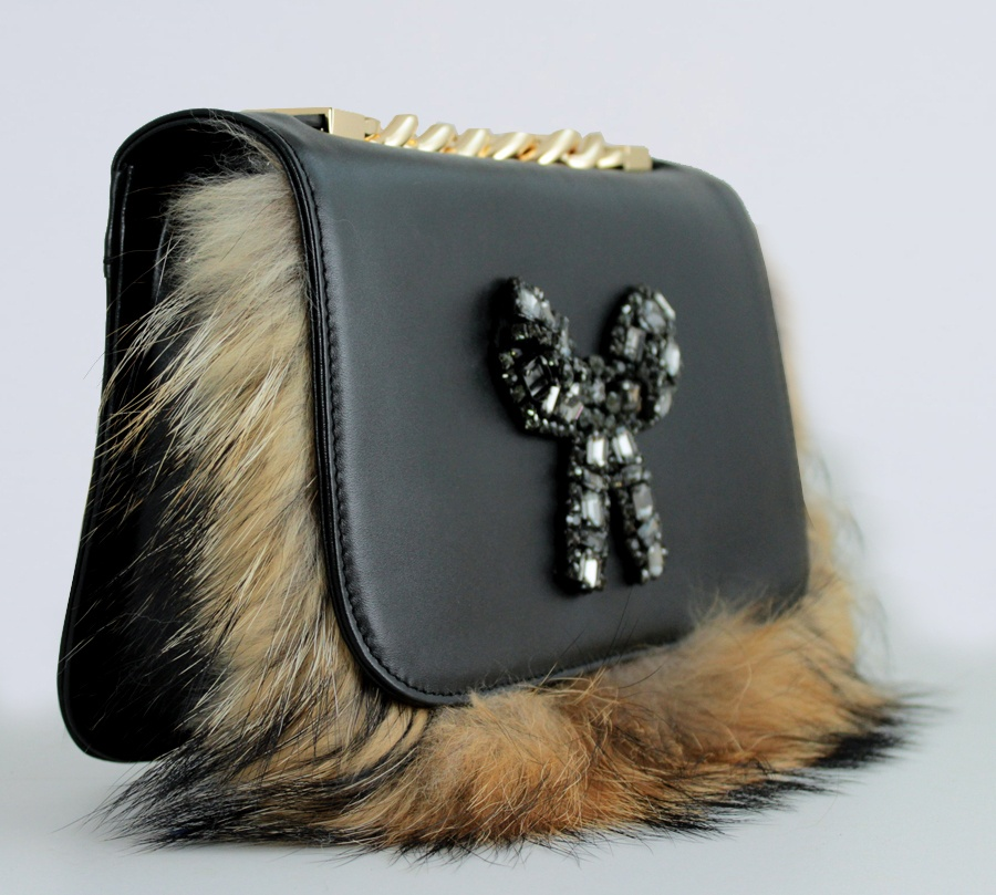 Twinset borsa a tracolla con strass e lapin aa8pc2 nero e camel pelle - dettaglio 2