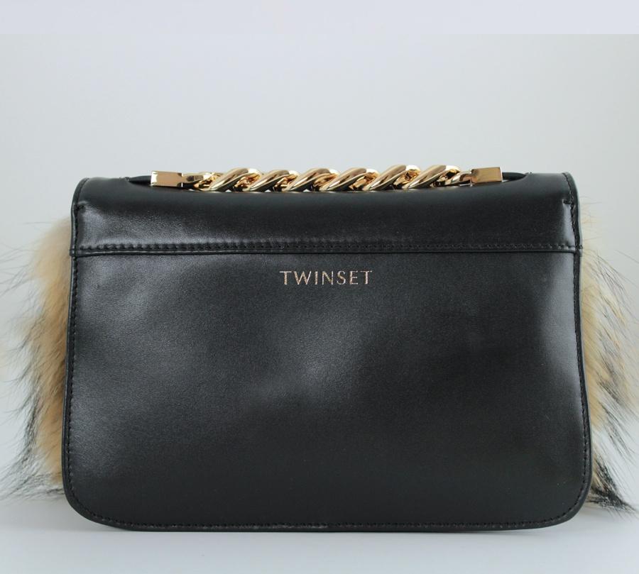 Twinset borsa a tracolla con strass e lapin aa8pc2 nero e camel pelle - dettaglio 3