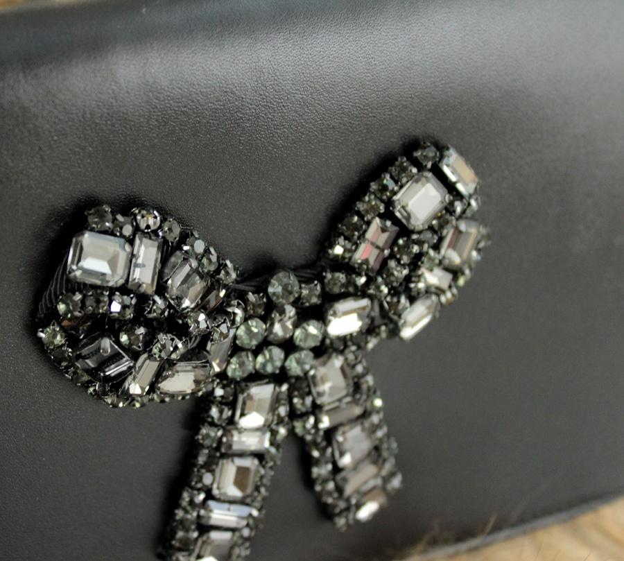 Twinset borsa a tracolla con strass e lapin aa8pc2 nero e camel pelle - dettaglio 5