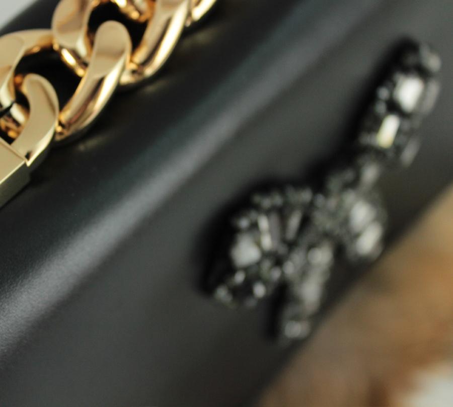 Twinset borsa a tracolla con strass e lapin aa8pc2 nero e camel pelle - dettaglio 6