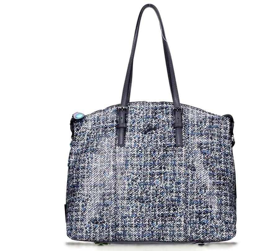 Shopping Bag Amanda Fantasy Black in Pelle Tweed Blu