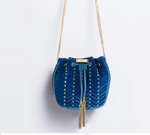 Twinset borsa a secchiello con strass oa8taa blu ottanio velluto - dettaglio 1